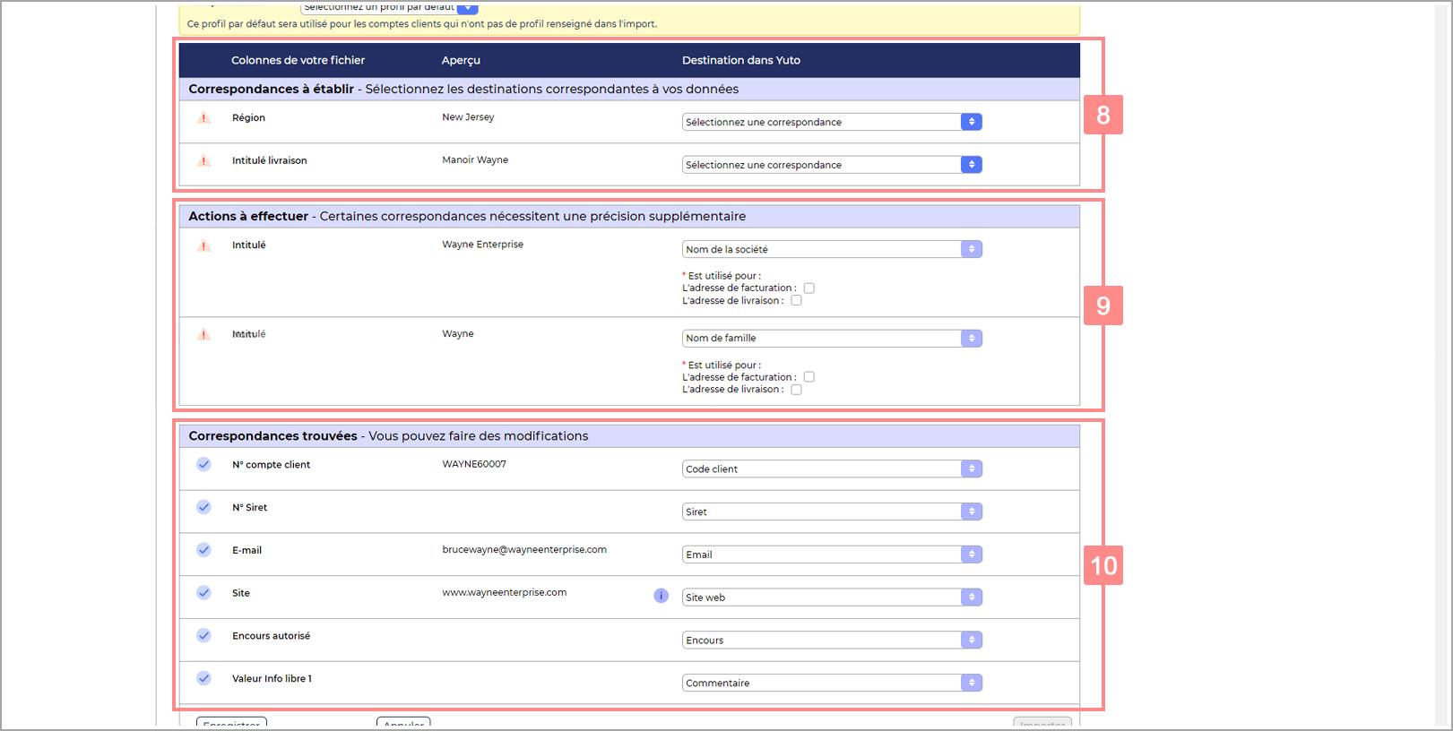 Page de configuration de l'import RiaShop - Catégories du tableau de maillage
