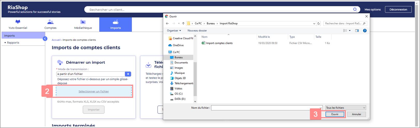 Sélection d'un fichier import dans RiaShop pour Yuto Essentiel