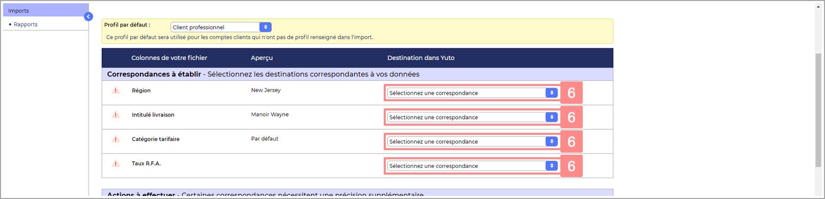 Correspondance à faire pour l'import d'un fichier de comptes clients pour Yuto Essentiel