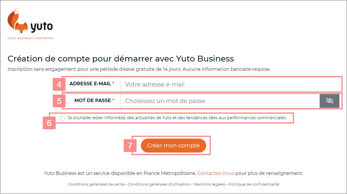 Création d'un compte Yuto Business