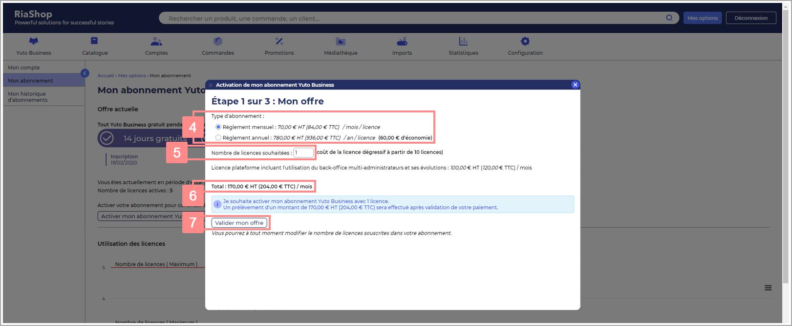 Choix de l'offre d'abonnement Yuto Business