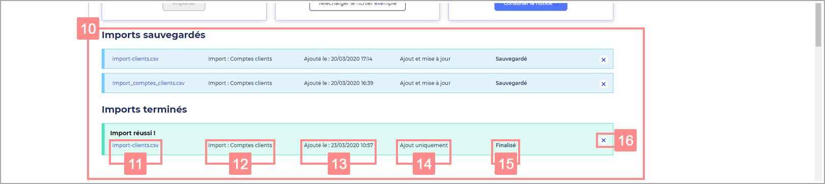Présentation listes imports RiaShop - Aide Yuto Essentiel