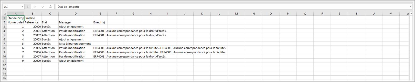 Exemple de rapport d'import de comptes clients sur RiaShop - Aide Yuto Essentiel