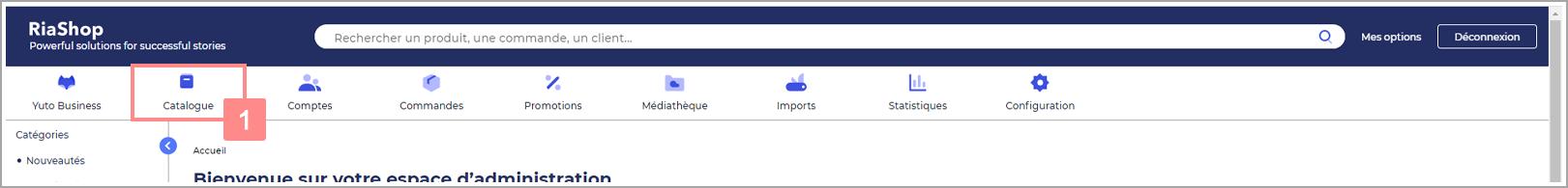 Rubrique Catalogue de l'administration RiaShop