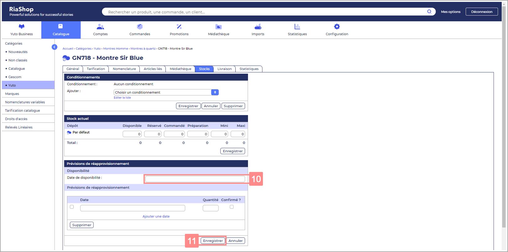 Renseigner la date de réapprovisionnement d'un produit - Site d'ide RiaShop / Yuto