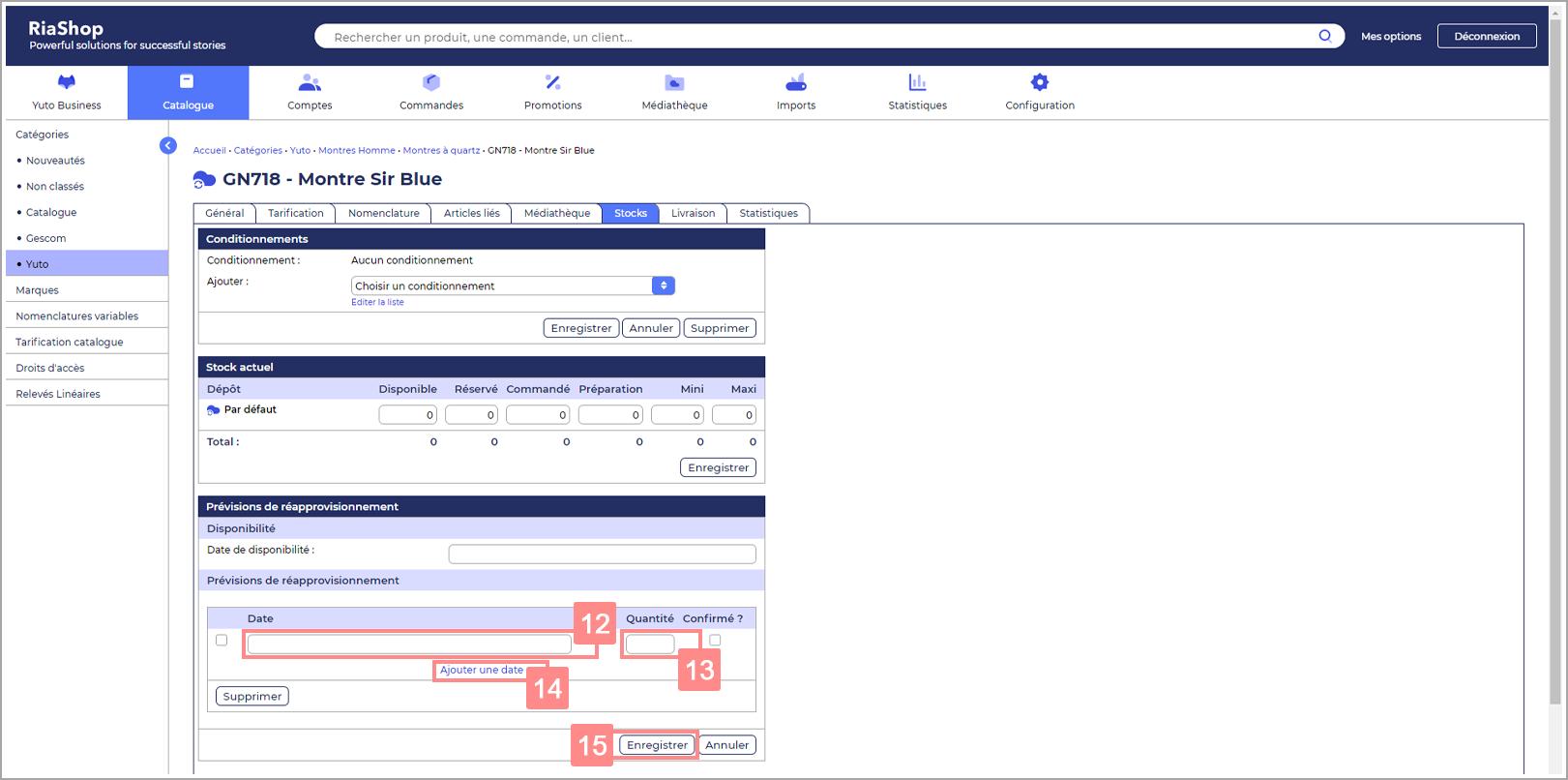 Date de réapprovisionnement de stock d'un produit - Site d'ide RiaShop / Yuto